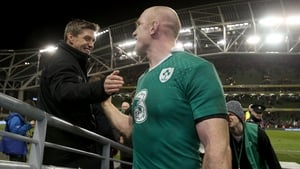 Ronan O'Gara celebrates with Paul O'Connell after Ireland's victory over Australia