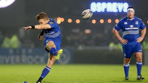 Ian Madigan kicks one of his three penalties for Leinster