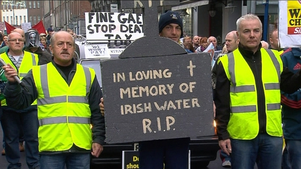 A hearse with anti-Govt slogans was driven through the streets as part of the Limerick protest