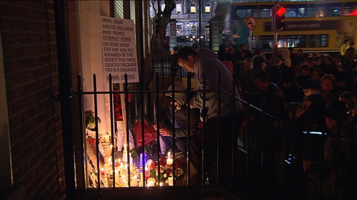 Bouquets have been left on the spot where Jonathan Corrie's body was found