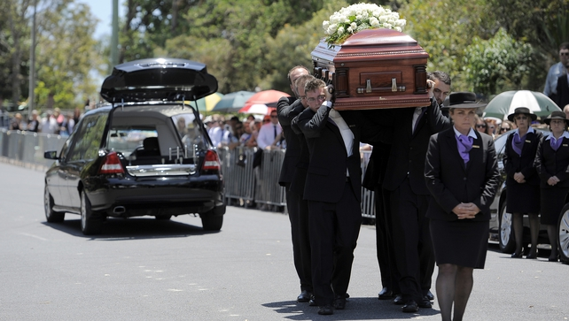 Phillip Hughes casket arrives ahead of the Funeral Service on in Macksville, Australia