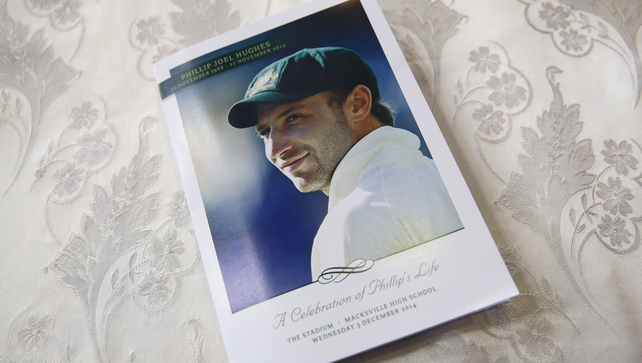 The order of service is seen inside the Macksville High School Stadium ahead of the Funeral Service for Phillip Hughes