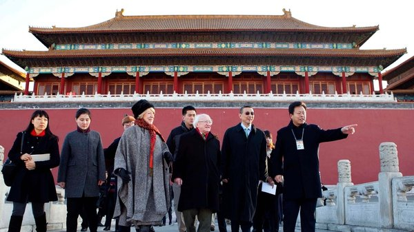 President Michael D Higgins visited the Forbidden City on his first day in Beijing
