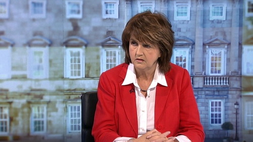 Joan Burton said the Irish people should be repaid before unsecured bondholders