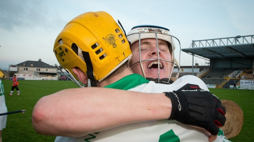 Ballyhale captain TJ Reid and Tom Coogan celebrate the final whistle of the Leinster SHC final