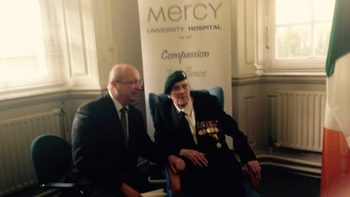 Patrick Gillen (R) pictured with the French ambassador at the ceremony in Cork