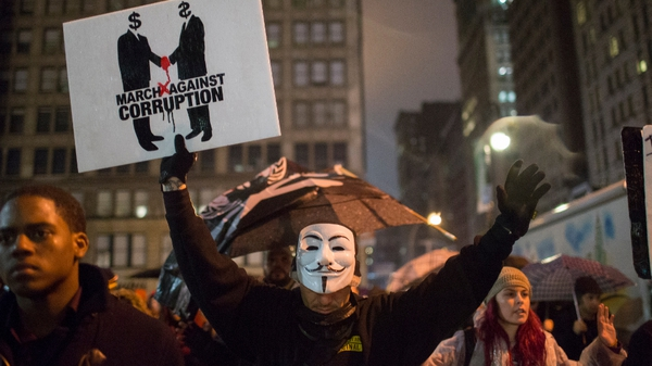 Protestors demonstrate at Union Square in New York against the grand jury decision