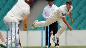 Sean Abbott sends down a delivery to Queensland batsman Marnus Labuschagne
