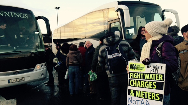 Protesters board buses in Limerick ahead of the demonstration in Dublin