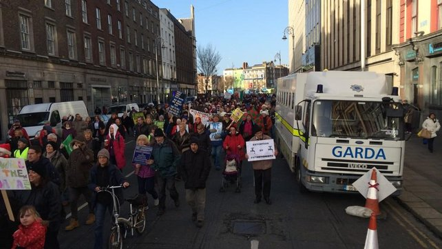 Protesters march through Dublin city centre