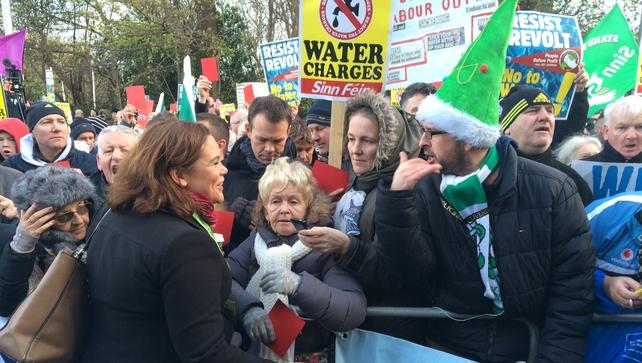 Sinn Féin's Mary Lou McDonald chats to protesters