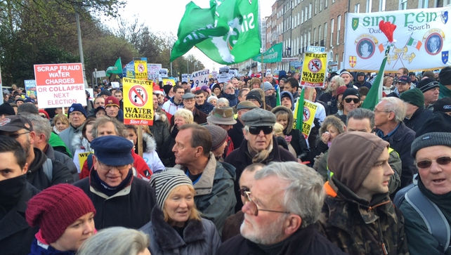Thousands gathered around Merrion Square in Dublin