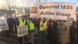 Protesters outside the Aer Lingus EGM earlier today