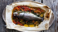 Trout En Papillote - Have separate bowls of steamed green beans and steamed new potatoes to hand around separately.