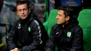 Manger Ronny Deila (left) and assistant John Collins will be expecting their Celtic side to return to winning ways when the league leaders entertain struggling St Mirren on Sunday