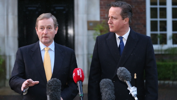 Taoiseach Enda Kenny and British Prime Minister David Cameron speak to the media after the Belfast talks