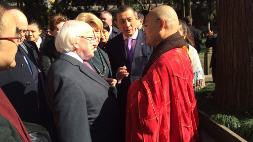 Upon his arrival at Lingyin temple, President Higgins was greeted by the head monk Guang Quan