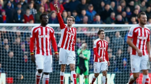 Peter Crouch celebrates scoring the equaliser