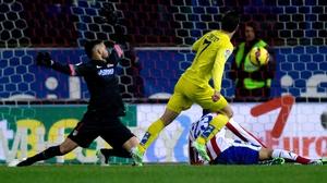 Luciano Dario Vietto of Villarreal scores the winner against Atletico Madrid