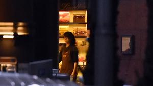 A staff member inside the café