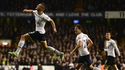 Nabil Bentaleb leaps for joy after setting Tottenham on their way against the Magpies