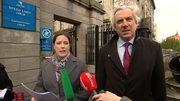 Cliona Kenny and Ernest Cantillon, solicitors for Gill Russell, speak to the media outside the court