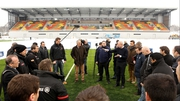 Edward Griffiths, the Saracens chief executive, holds court with the media at Allianz Park