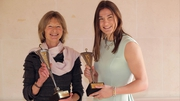 Irish Times/Irish Sports Council Sportswoman of the Year Katie Taylor (R) with Lifetime Achievement winner Joanna Morgan