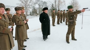 Kim Jong-un observes he North Korean military's winter training at an unknown location