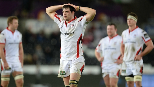 Ulster's Clive Ross looks on while the TMO awards an Ospreys try