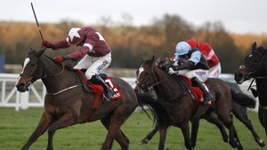 Davy Condon riding Bayan (L) clear the last to win The Ladbroke at Ascot