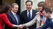 David Cameron and Theresa Villiers greet Enda Kenny and Joan Burton at Stormont House
