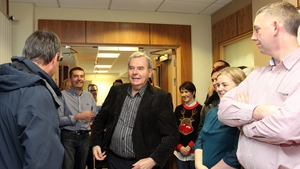 Seán Quinn was greeted by cheering and clapping from the staff and well-wishers