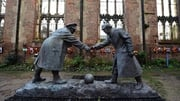 A resin model at St Luke's Church in Liverpool representing a WWI Christmas Truce football match