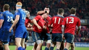 Munster's Andrew Conway celebrates his try with Paddy Butler