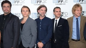 Benicio del Toro, Jordan Christian Hearn, Paul Thomas Anderson, Joaquin Phoenix, and Owen Wilson photographed at the World Premiere of  Inherent Vice during the 52nd New York Film Festival in October.