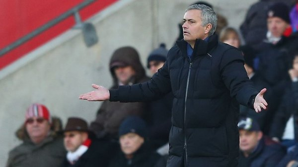 Jose Mourinho shows his frustration during the match between Southampton and Chelsea