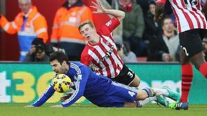 Cesc Fabregas was shown a yellow card despite an apparent foul by Matt Targett of Southampton