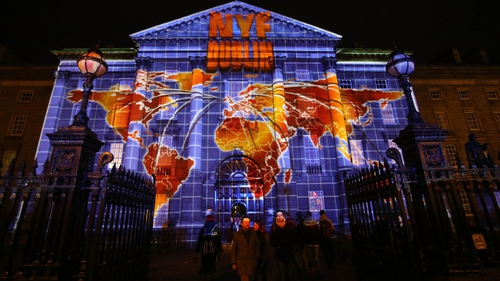 Trinity College Dublin is lit by an interactive 3D display called Luminosity