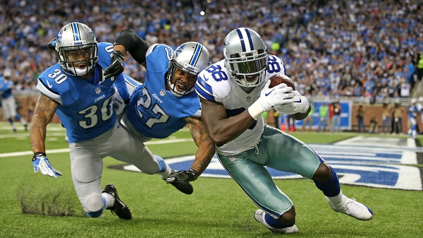 Dez Bryant of the Dallas Cowboys scores against Detroit in Octoberr