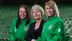 Aine O'Gorman, Sue Ronan and Stephanie Roche pictured at the Aviva Stadium for the squad announcement