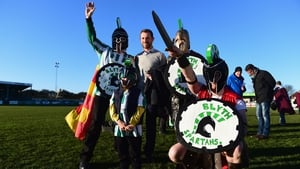 Birmingham city manager Gary Rowett poses with some Blyth fans before the match