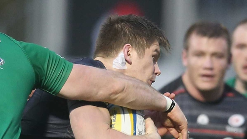 Saracens' Owen Farrell wears the sensor that measures the impacts on his head during the game