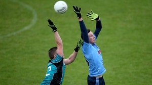 Harry Dawson of Dublin with Conor McGrath of Maynooth in Parnell Park