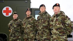 (L-R) Tpr Richard Fitzgerald, Cpl Frank Noonan, Capt Eugene O'Connor, Cpl Pierce Foley ahead of their deployment