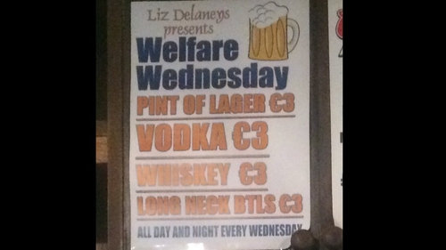 Following criticism the pub agreed to remove the word 'welfare' from the promotion, conceding its use was a mistake