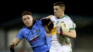 Dublin's John Small tries to get to trips with Nigel Dunne of Offaly at Parnell Park last night