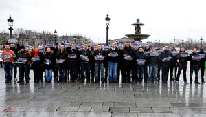 """The friendly association of French police observe a minute's silence at """"Place de la Concorde"""" in France"""