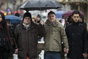 People gather on Place de la Republique in France to observe a minute's silence