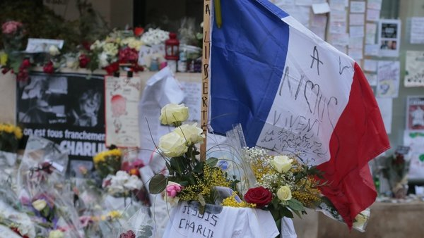Tributes were paid to the victims of the attack at the Paris offices of Charlie Hebdo